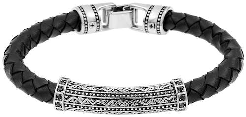 Ce Bracelet IROKOI est en Acier et Cuir Noir