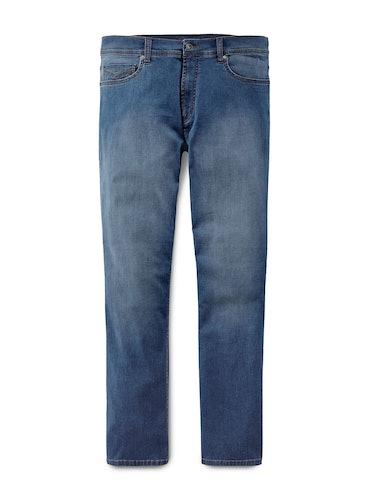 Blaue Jeans mit Verwaschungen.
