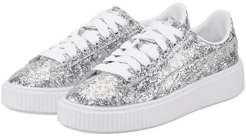 Basket Platform Sneaker, Puma, Glitter, Silver, Sparkling, Lodenfrey