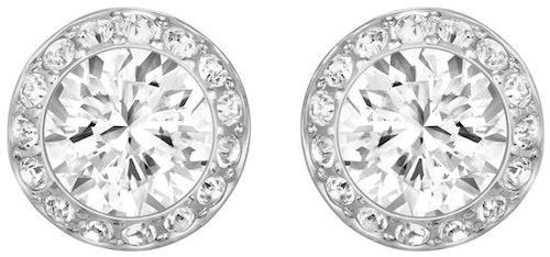 Ces Boucles d'oreilles SWAROVSKI sont en Métal et Cristal Blan