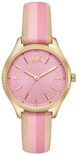 Cette montre MICHAEL KORS se compose d'un boîtier Rond de 36 mm et d'un bracelet en Cuir Bicolore