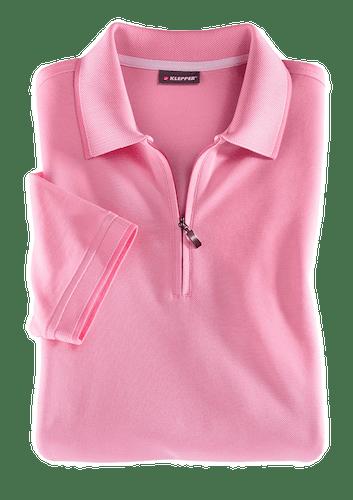 Pinkes Polo mit Reißverschluss am Ausschnitt.