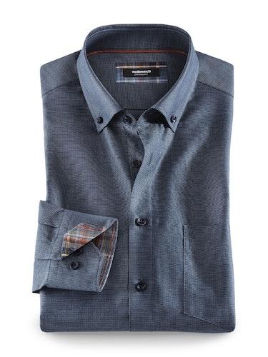 Blaues Hemd mit Button-down-Kragen und Karodetails an der Innenmanschette.