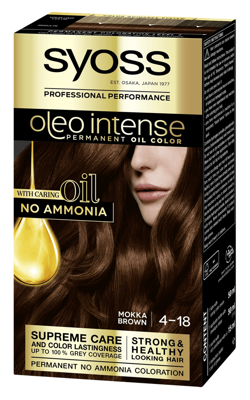 Боя за коса Syoss Oleo Intense Мока кафяв 4-18 pack shot