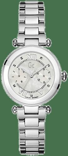 Cette montre GC se compose d'un Boîtier Rond de 32 mm et d'un bracelet en Céramique Blanche