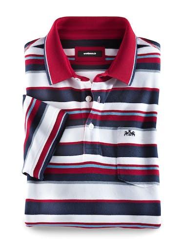 Gestreiftes Polo mit Brusttasche und einem roten Kragen.