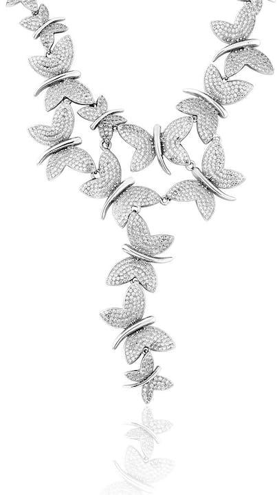 Collier CLEOR en Argent 925/1000 et Oxyde Blanc en forme de Papillon