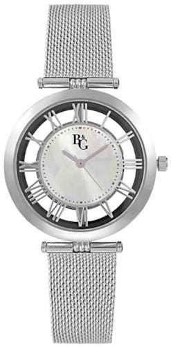 Cette montre B&G se compose d'un Boîtier Rond de 40 mm x 34 mm et d'un bracelet en Acier Gris