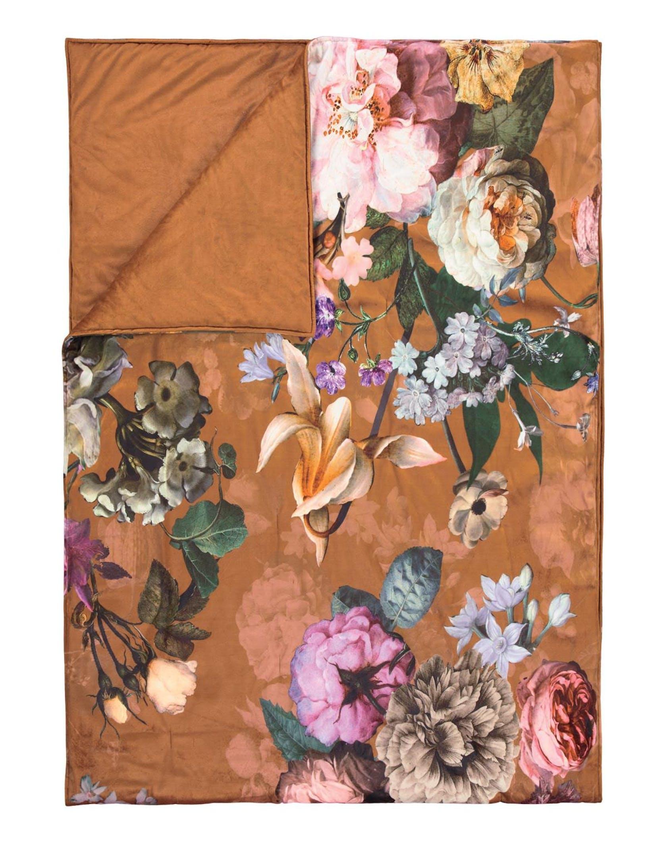 ESSENZA Fleur Leather brown Sprei 180 x 265 cm