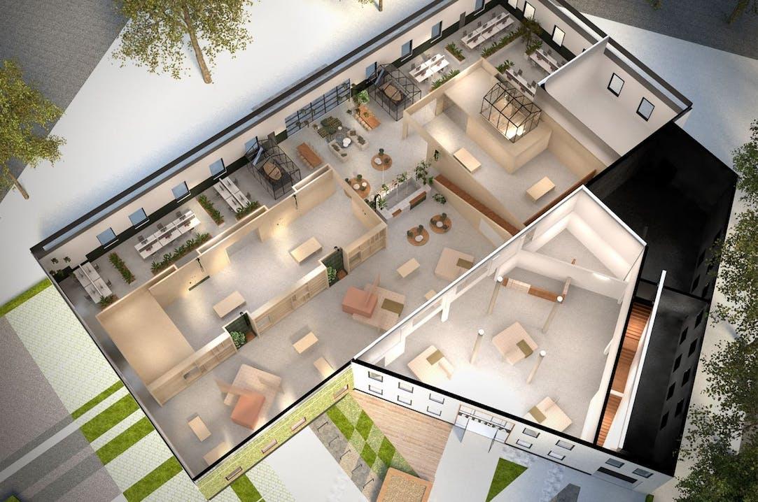 Impressie van de plannen voor het nieuwe hoofdkantoor van Essenza Home
