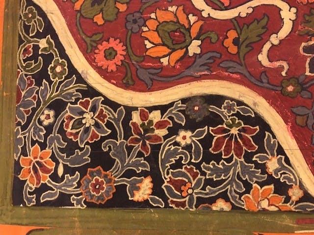 Detail van de handgeschilderde gouache