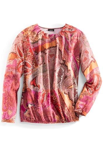 Bluse in orange und pink mit Paisley-Muster.