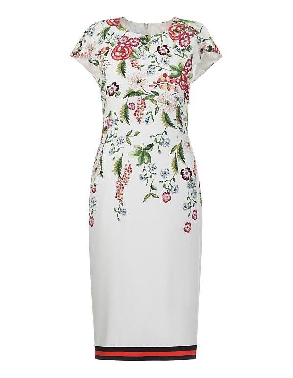 Ärmelloses Etui-Kleid mit Floral-Druck