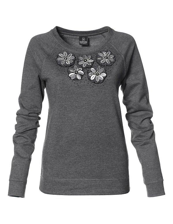 Sweatshirt mit Zierblüten und langen Ärmeln