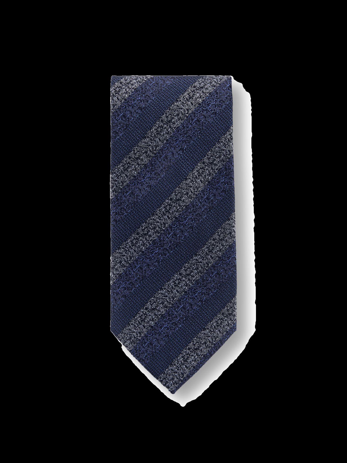 Krawatte mit blauen und grauen Streifen.