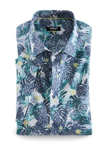 Hemd mit Hawaii-Muster in blau, grün und gelb.
