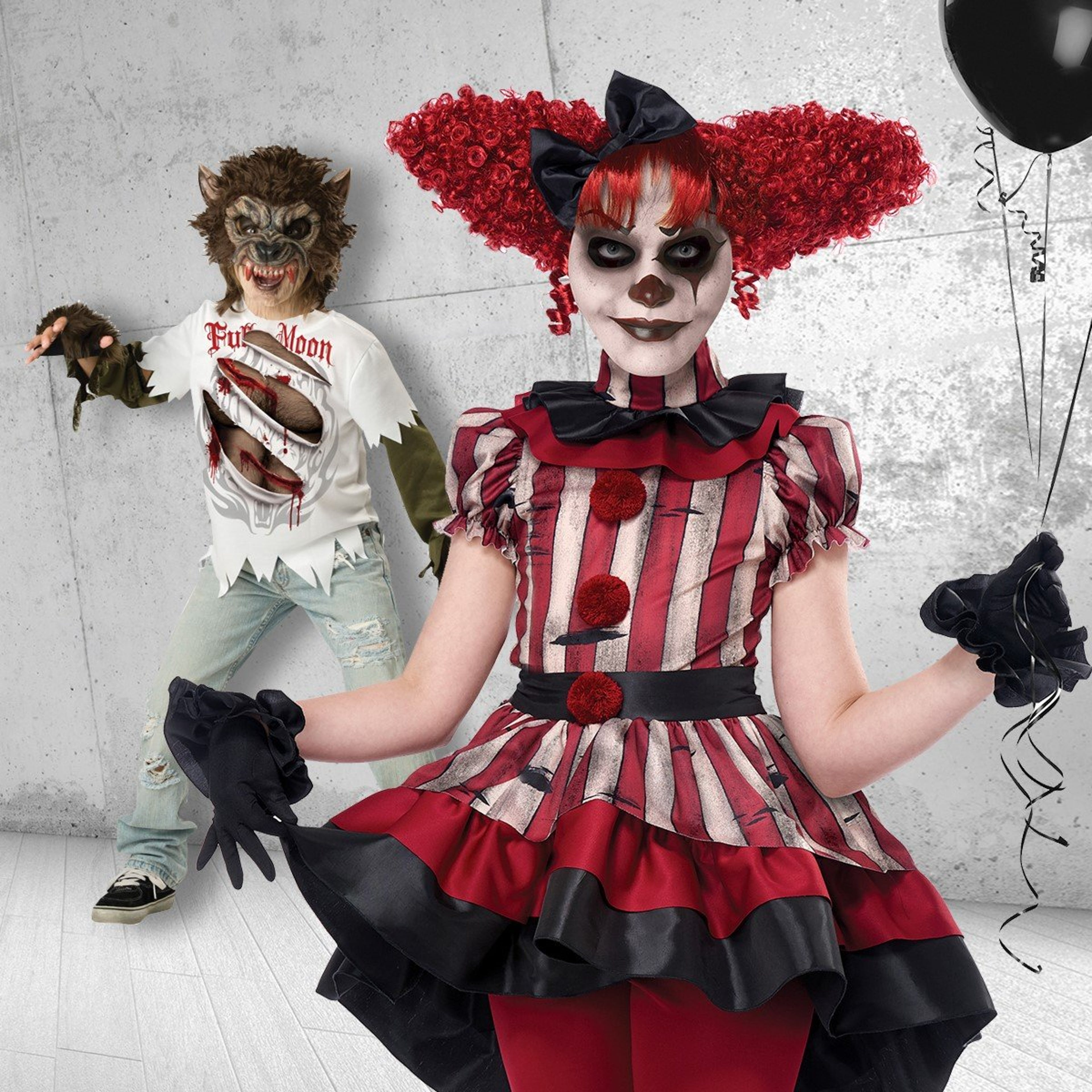 Shows a scary clown kids Halloween costume and Full Moon Werewolf