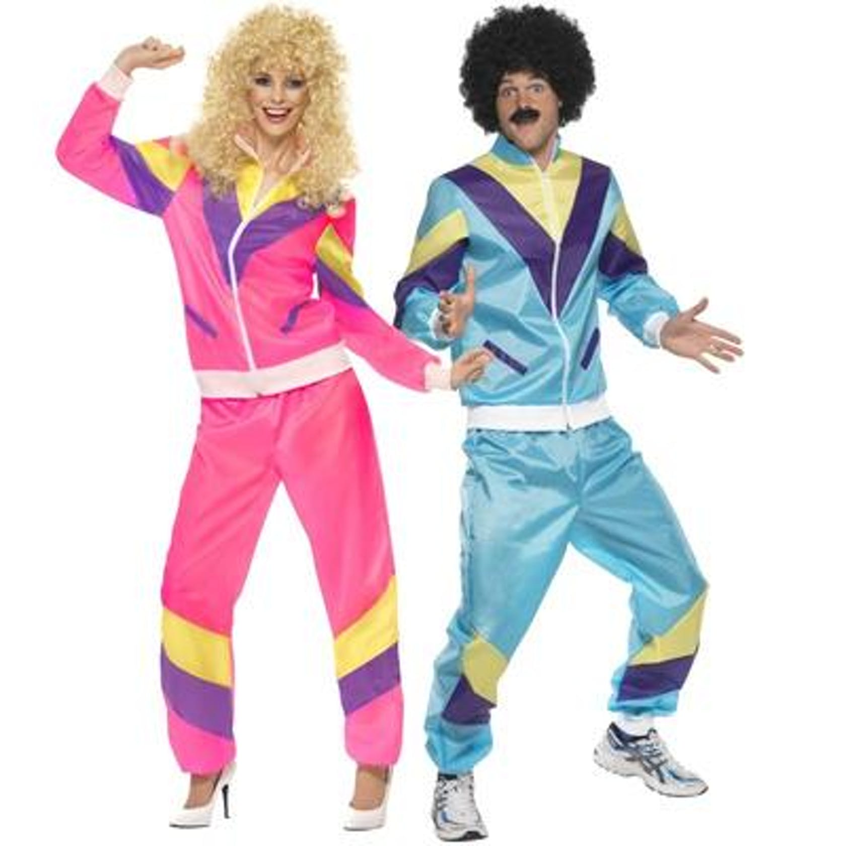 Shows couple dressed in 1980's outfits