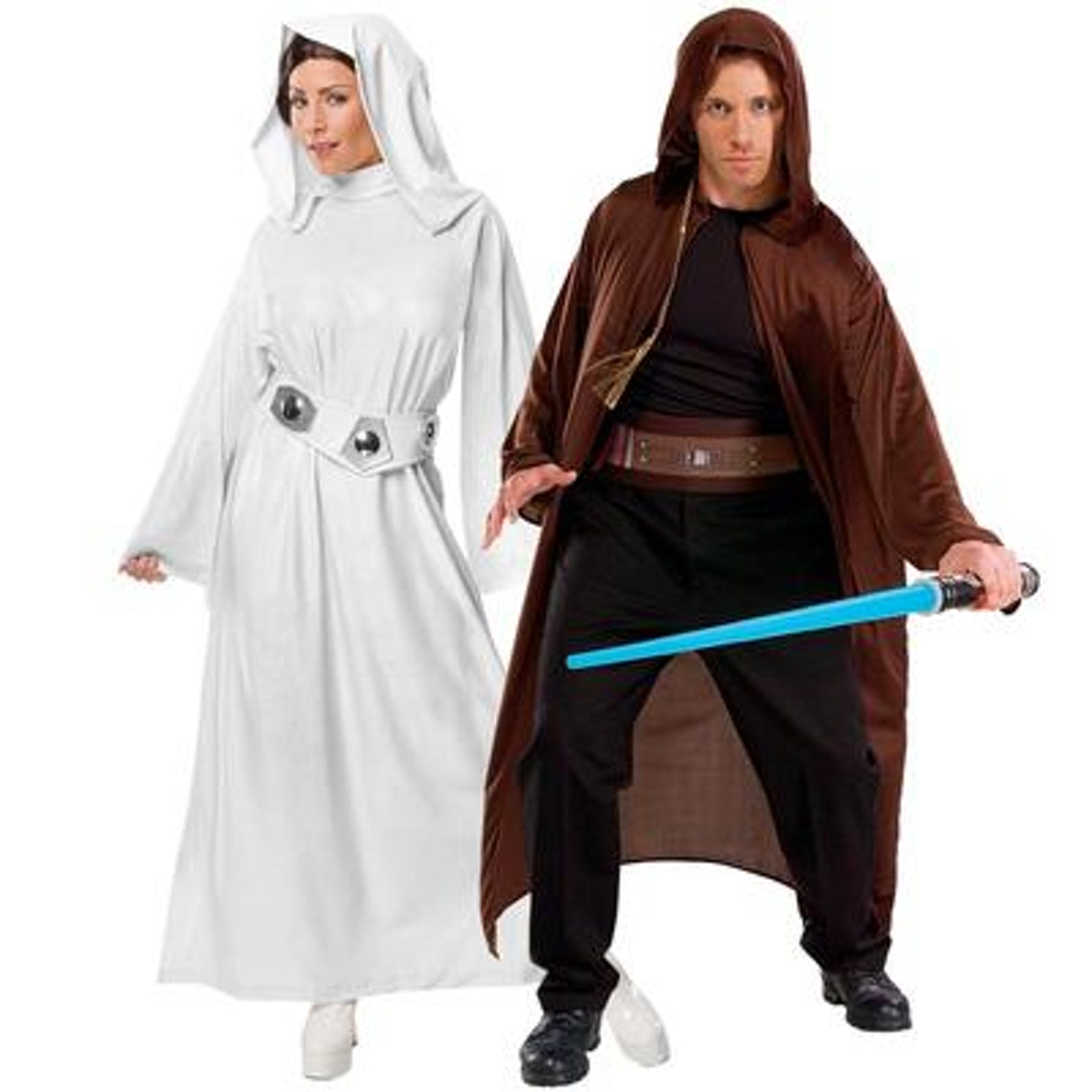 Shows a couple dressed as Star Wars characters