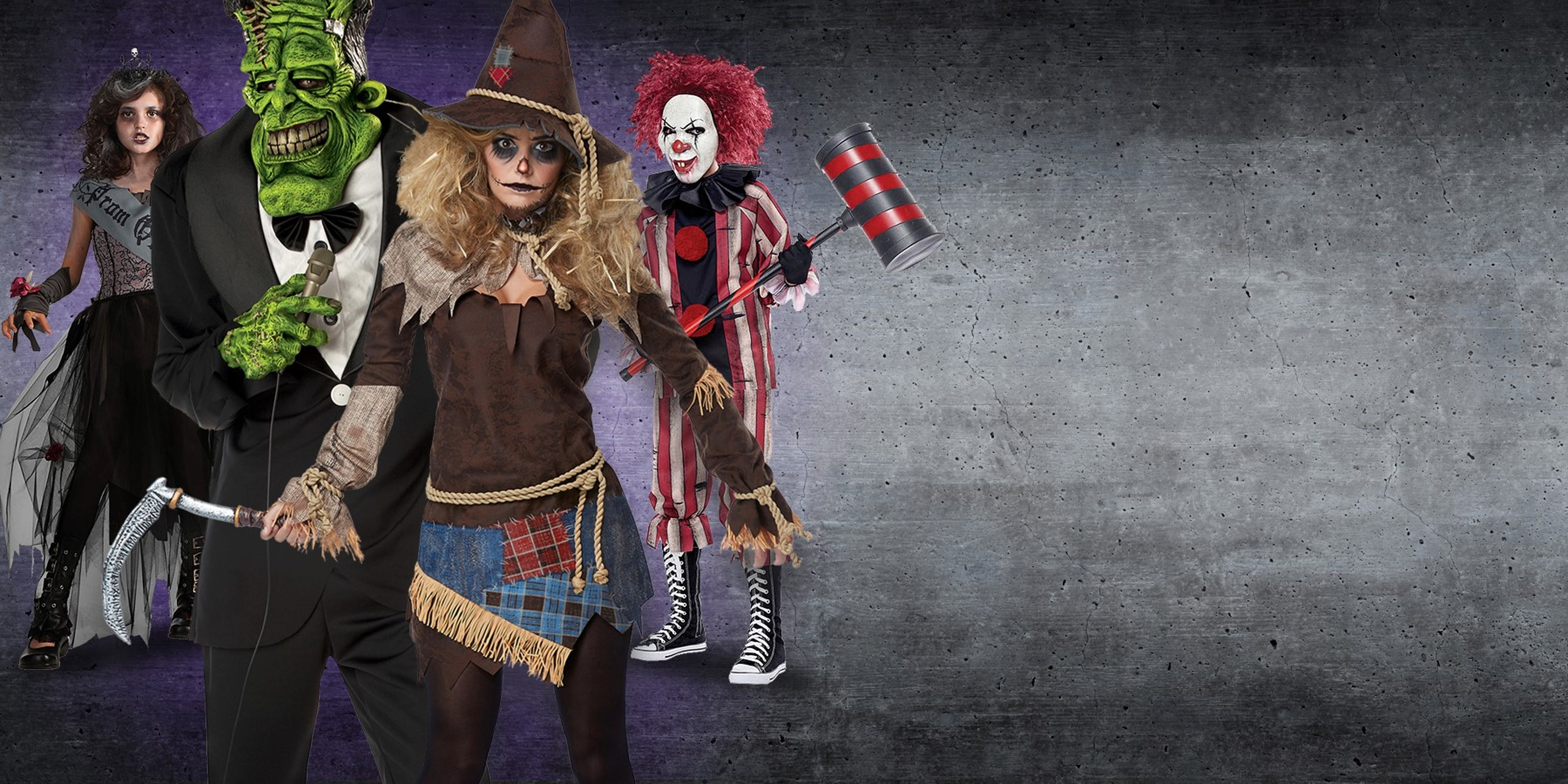 Shows a variety of cool Halloween costume ideas