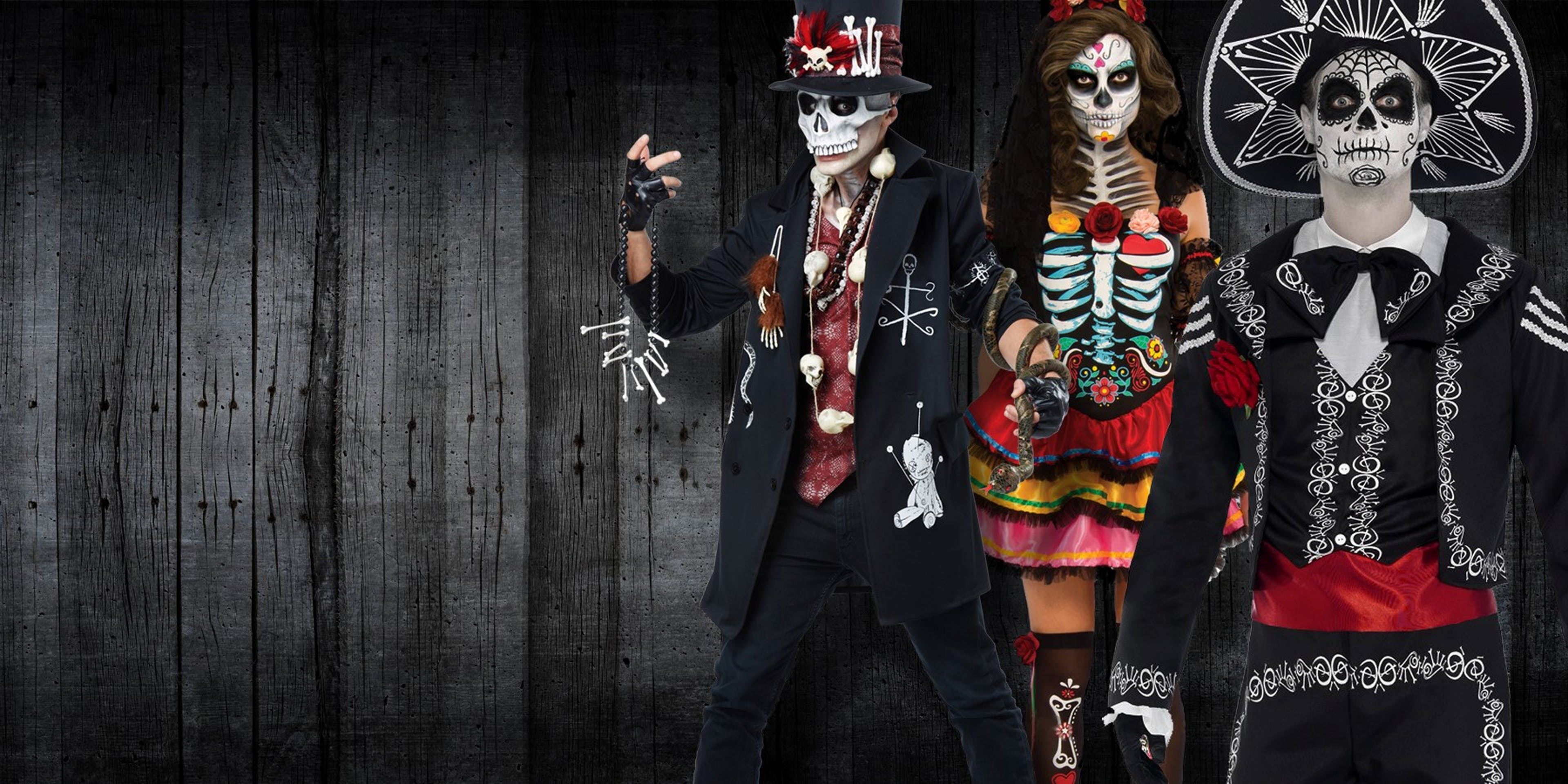 Day of the Dead costumes - Shows a group dressed up for Halloween