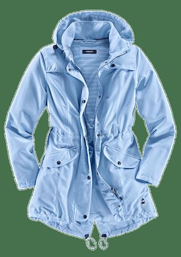 Himmelblaue Jacke mit Kapuze und zwei großen Taschen.
