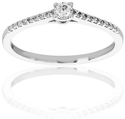 Solitaire CLEOR Or 750/1000 Diamant Blanc 0,18 carat GSI2