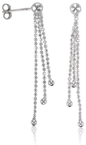 Boucles d'oreilles Argent 925/1000 Blanc pendantes trois chaines boules