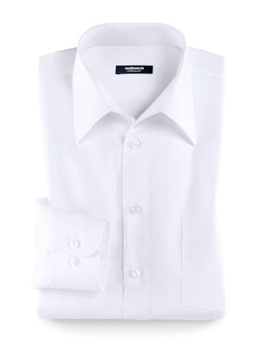Weißes Hemd mit Walbusch-Kragen und Manschettenknöpfen.