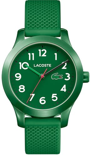 Cette montre LACOSTE se compose d'un Boîtier Rond de 32 mm et d'un bracelet en Silicone Vert