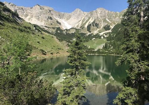 Bäume, rund um einen See herum. Darunter Berge und blauer Himmel.