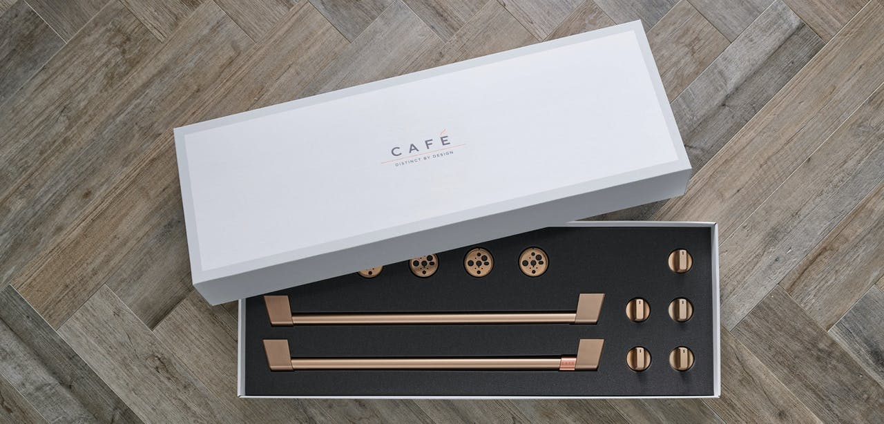 Cafe brushed bronze hardware kit in box