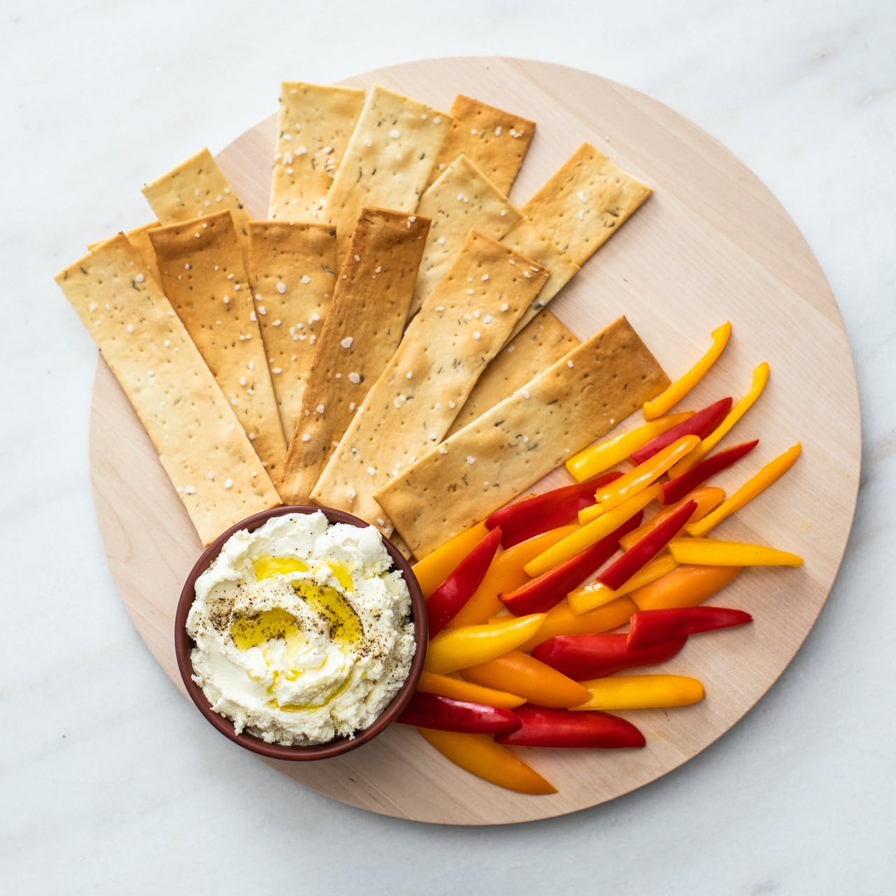 Whipped Feta with crackers and crudites