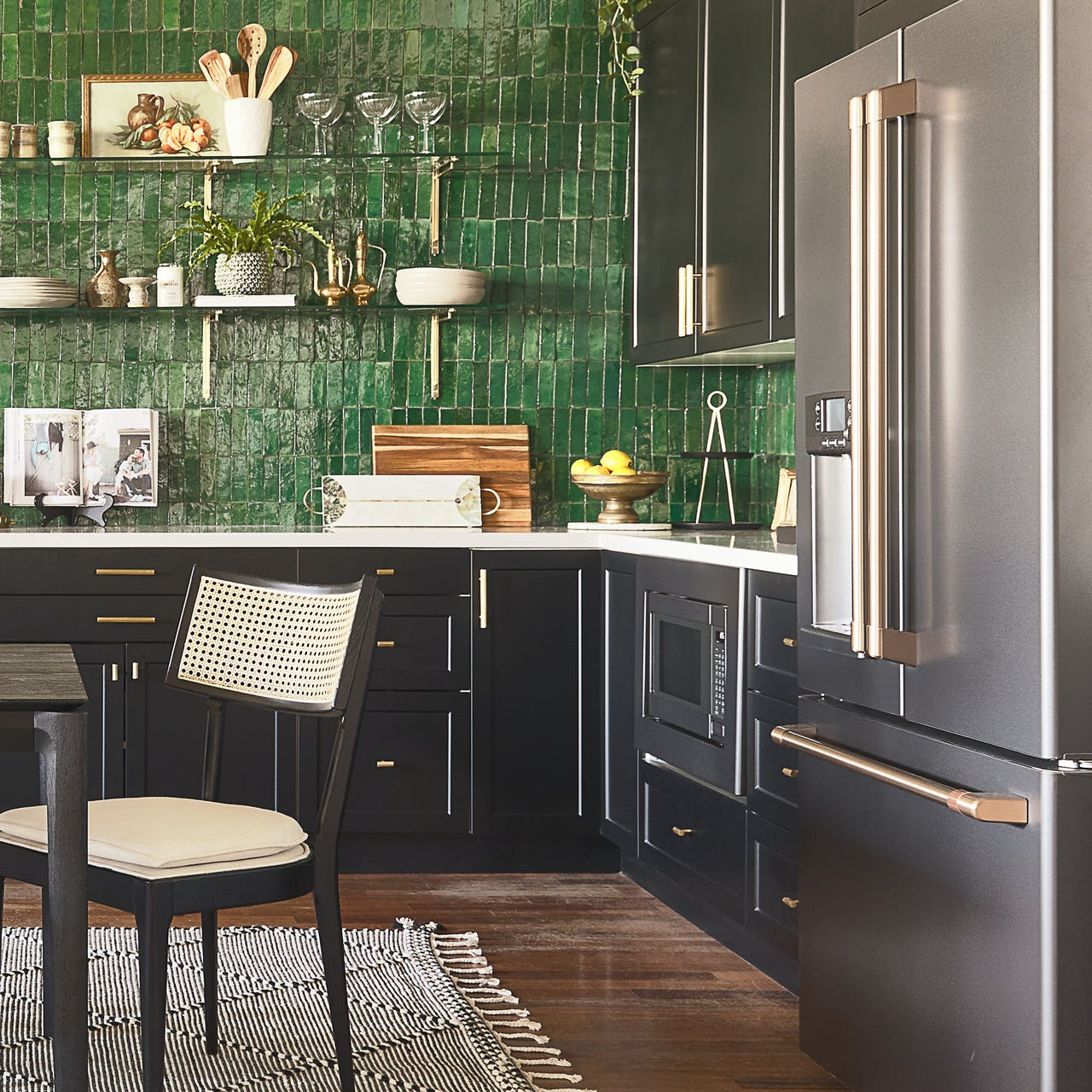 Bright green tile with Matte Black appliances