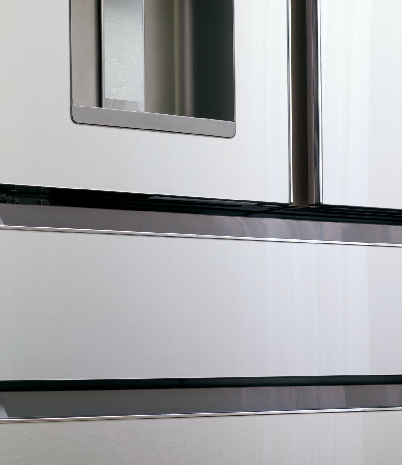 detail of modern glass refrigerator