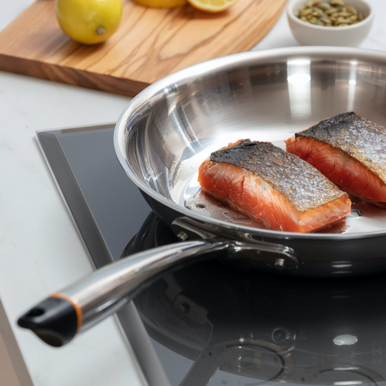 Hestan Cue smart pan with salmon