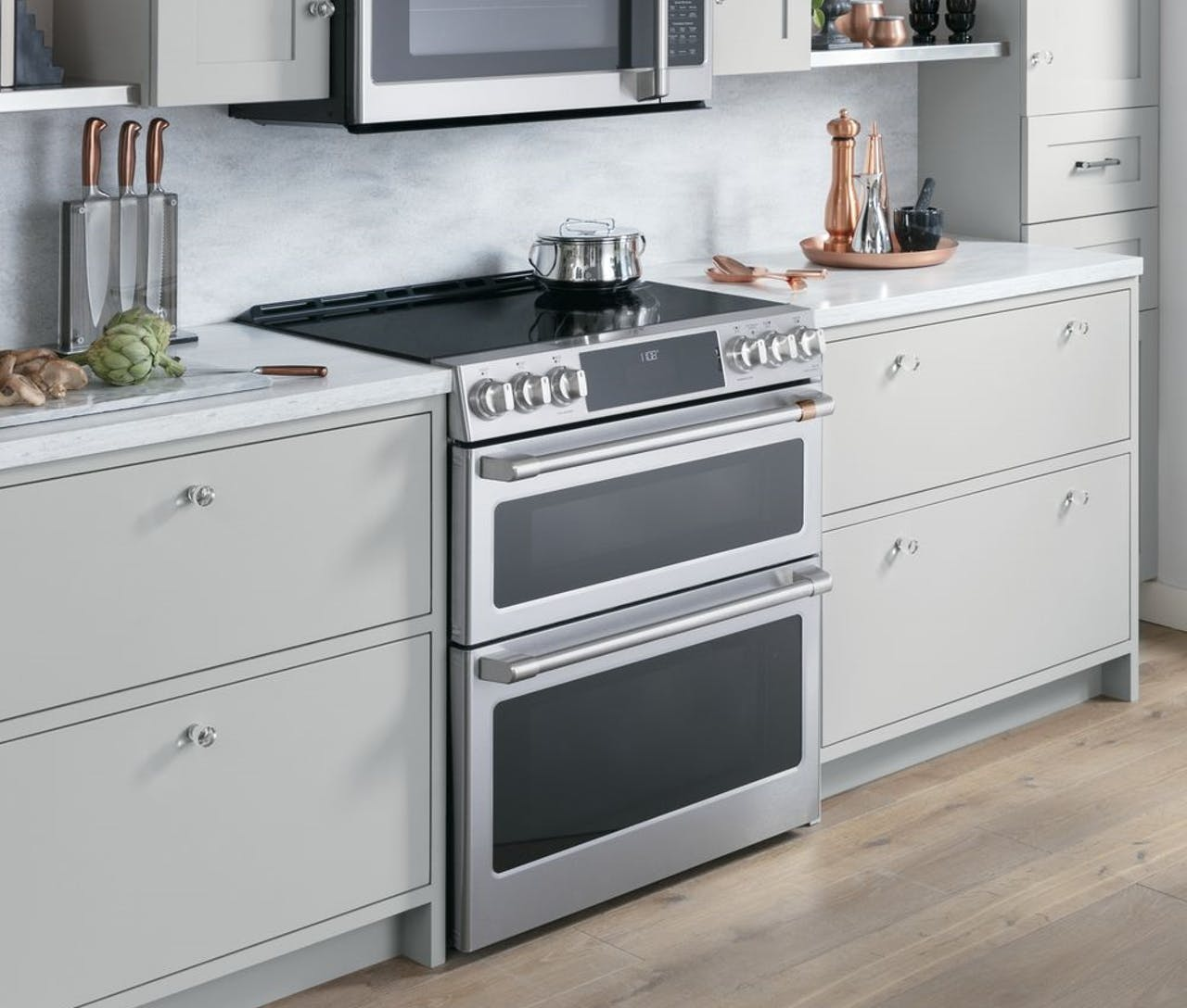Slide in stainless steel cafe double oven range