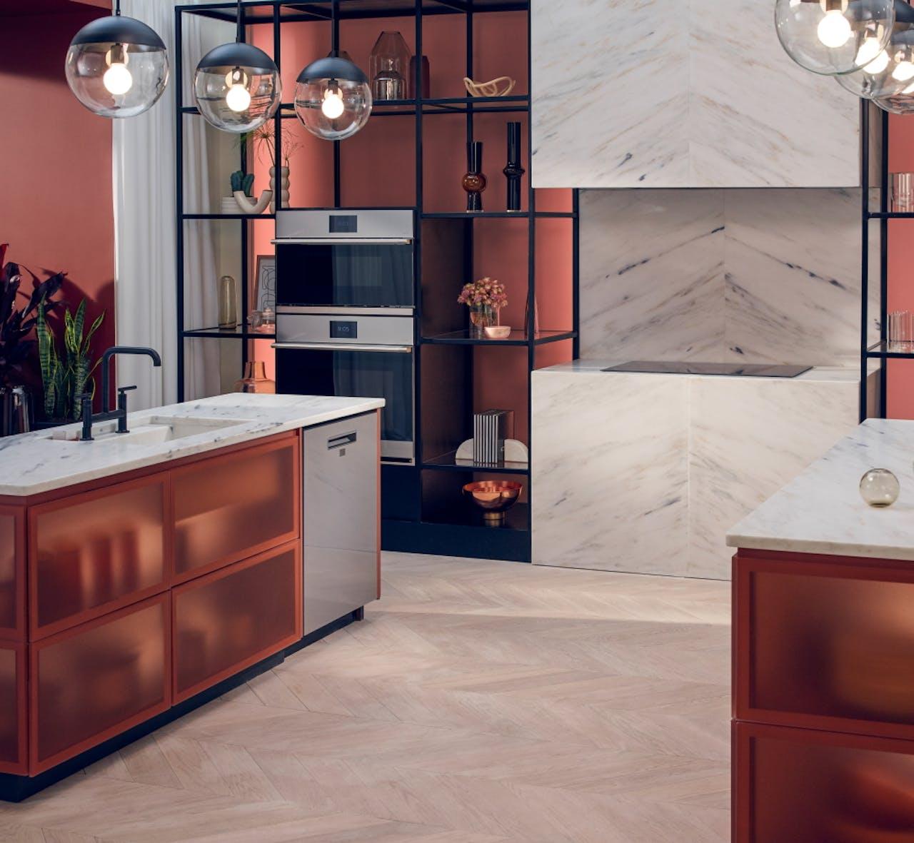 Modern glass appliances in kitchen