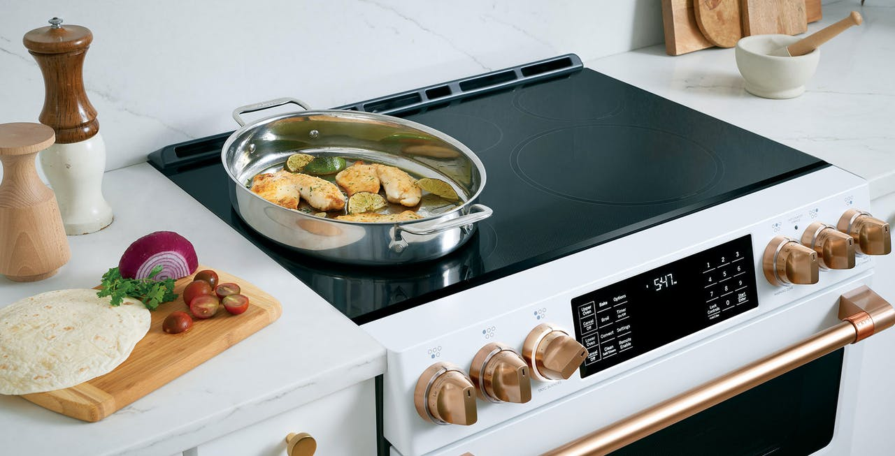 Top of matte white induction range
