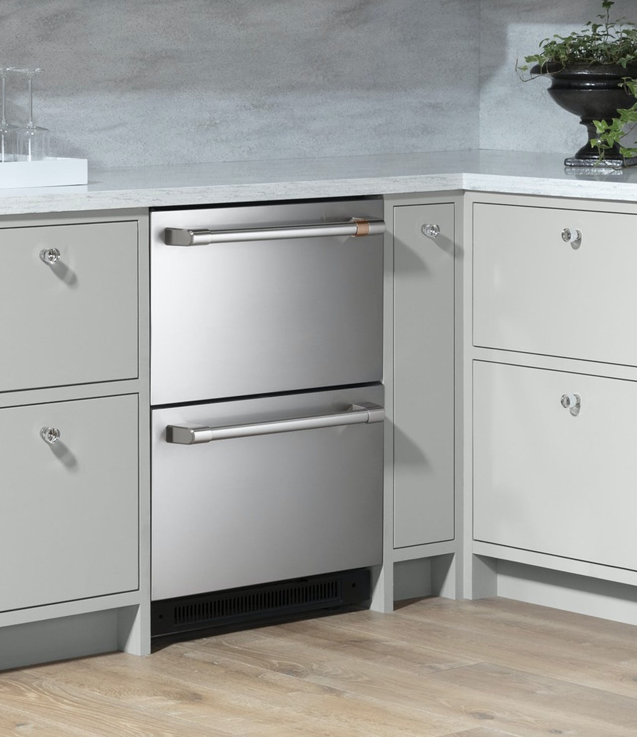dual drawer undercounter stainless refrigerator