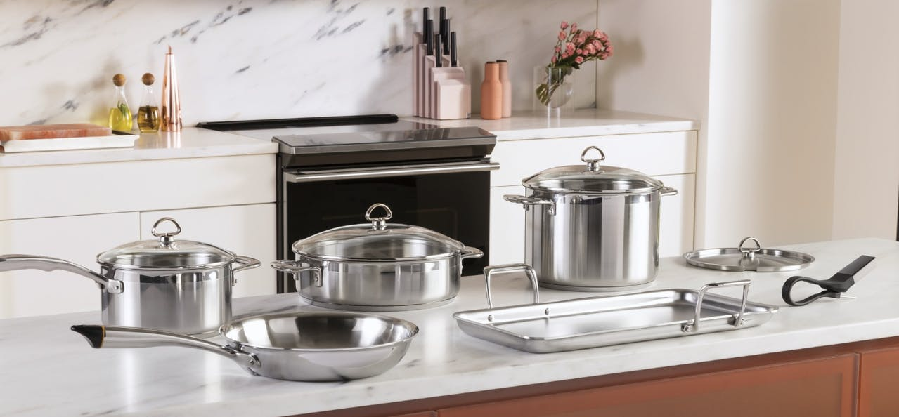 Chantal cookware set in front of modern glass range