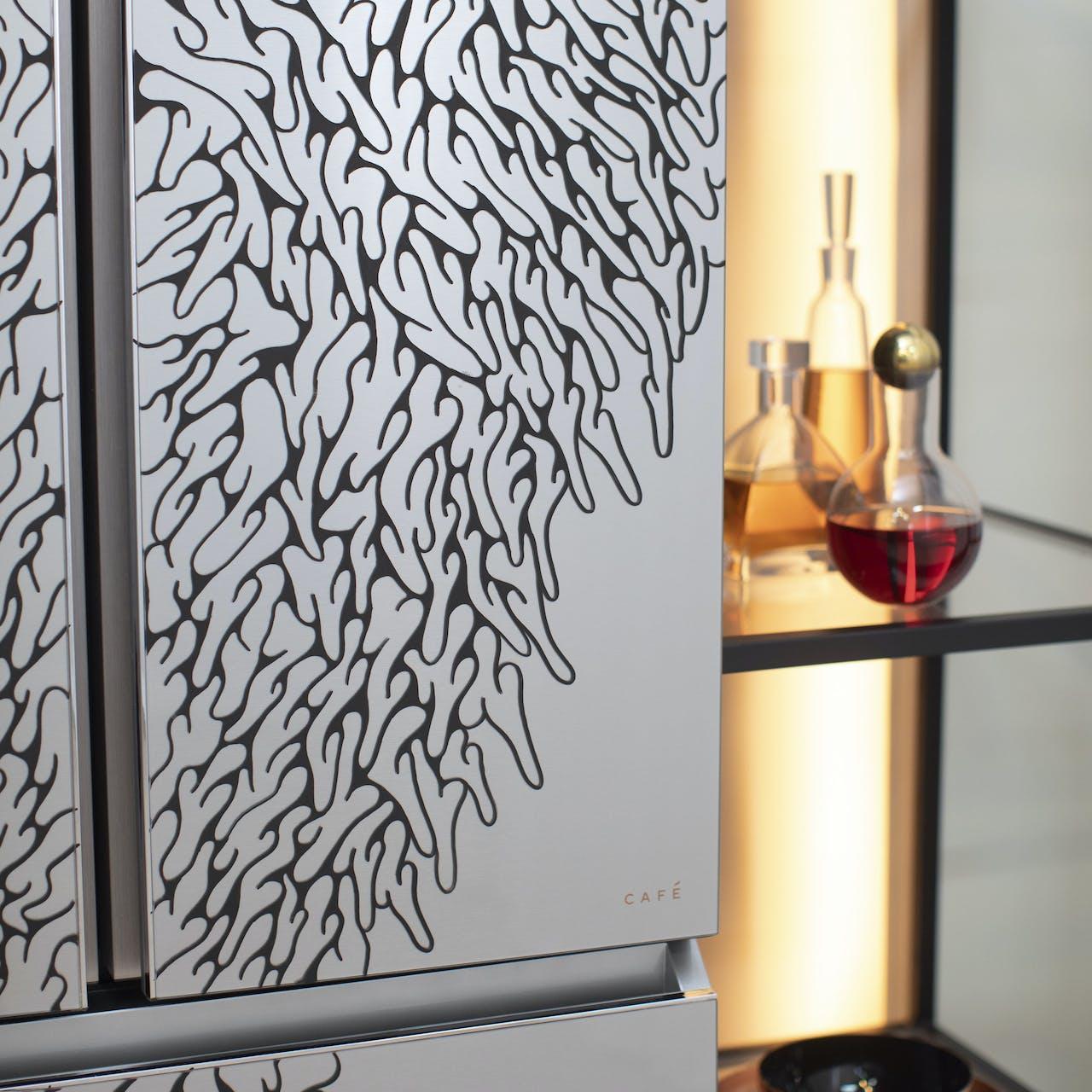 line art on modern glass refrigerator