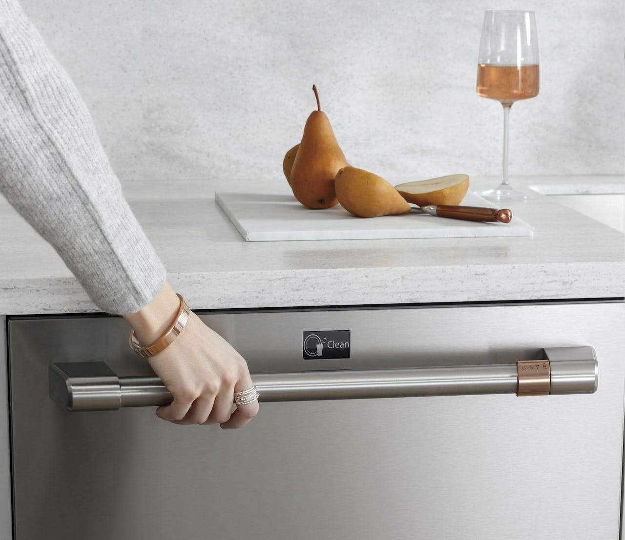 Opening a dishwasher