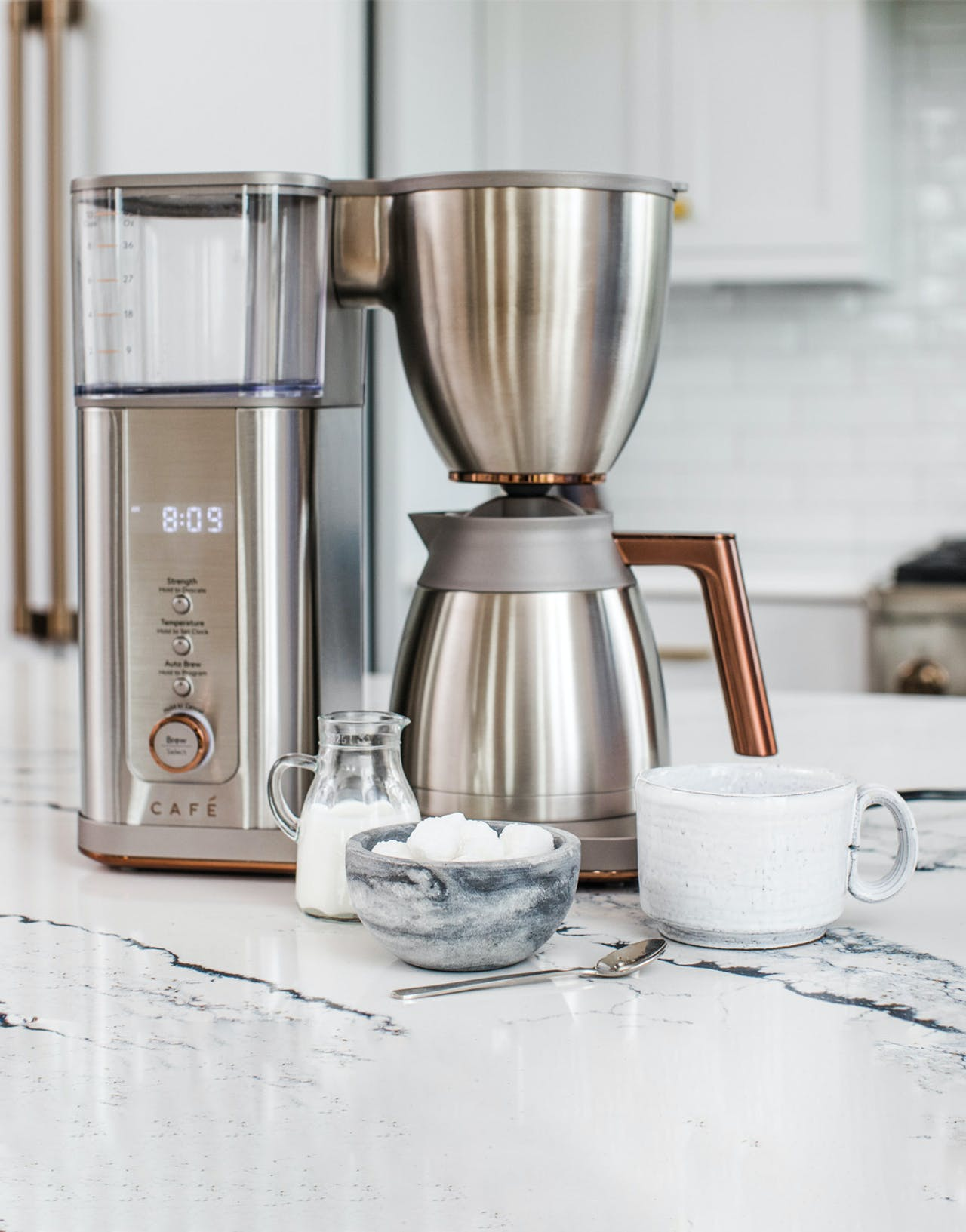 Stainless steel cafe coffee maker on counter