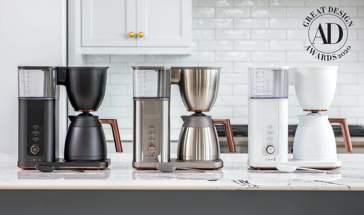 Cafe coffee makers in matte black, stainless and matte white on countertop