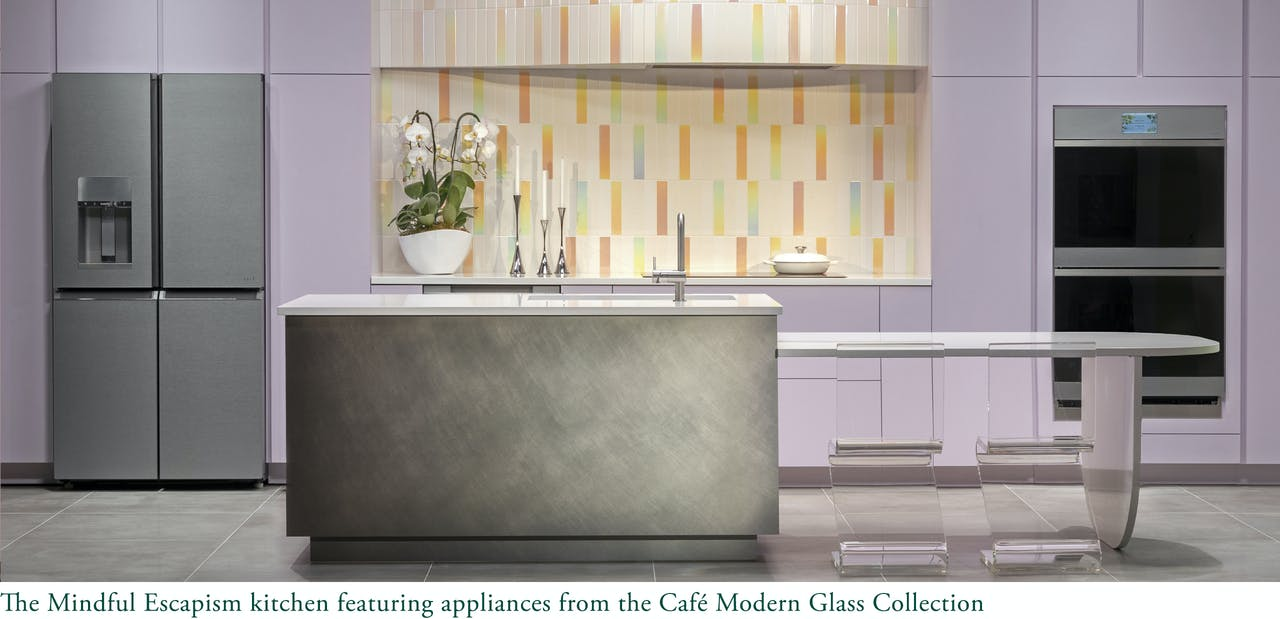 The Mindful Escape Kitchen featuring Modern Glass appliances. New at KBIS 2021.
