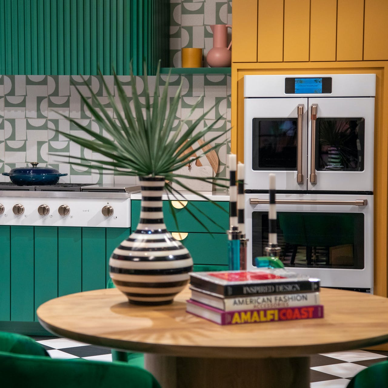 Matte white appliances in colorful kitchen