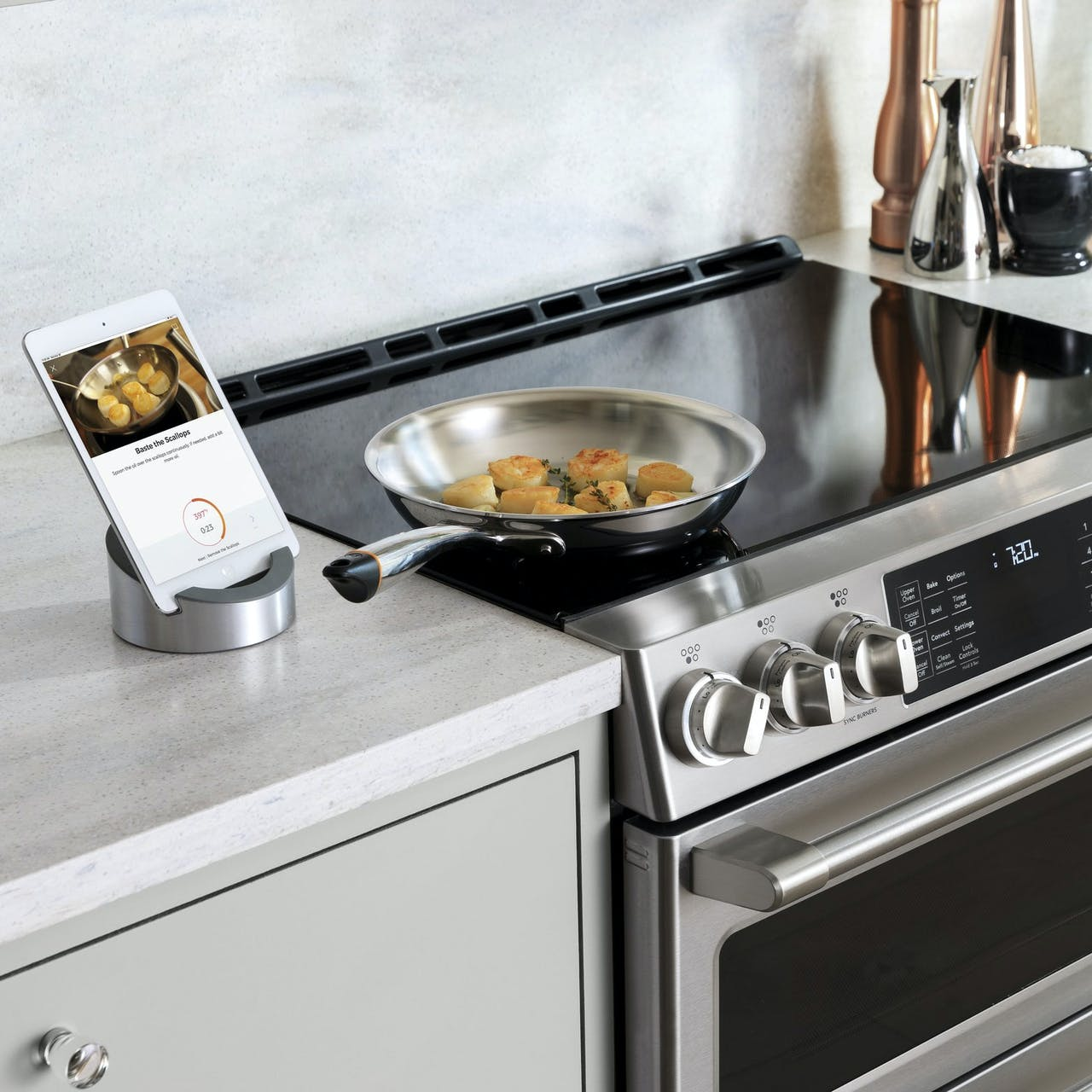 Induction range with pans on cooktop