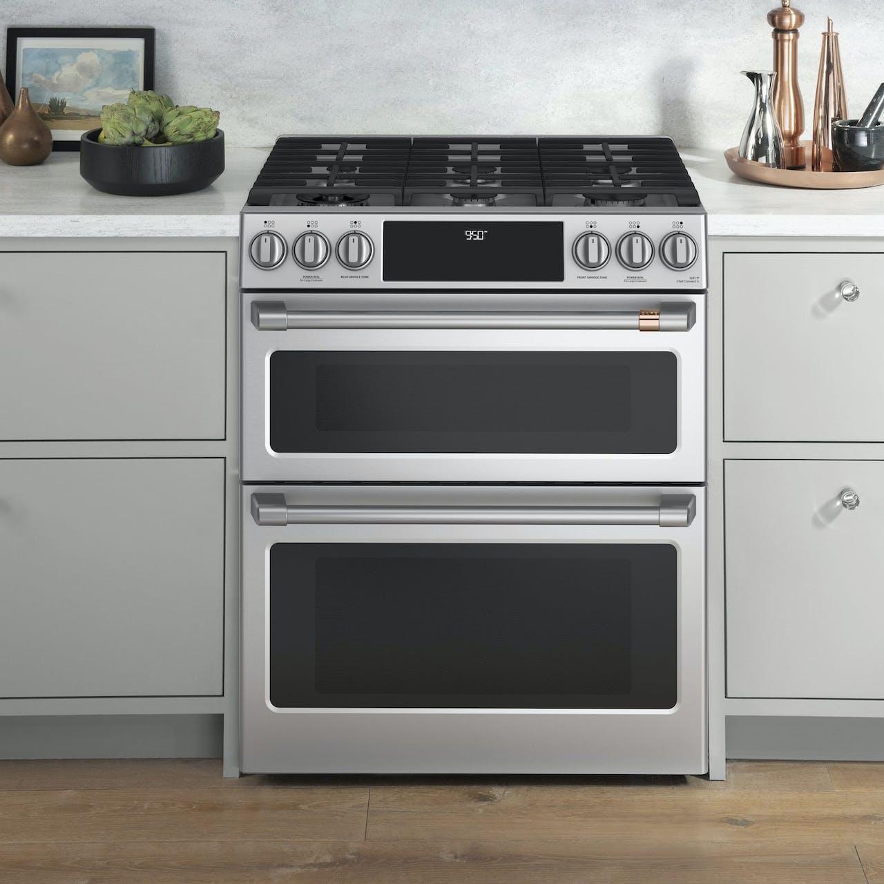 dual fuel slide in double oven range
