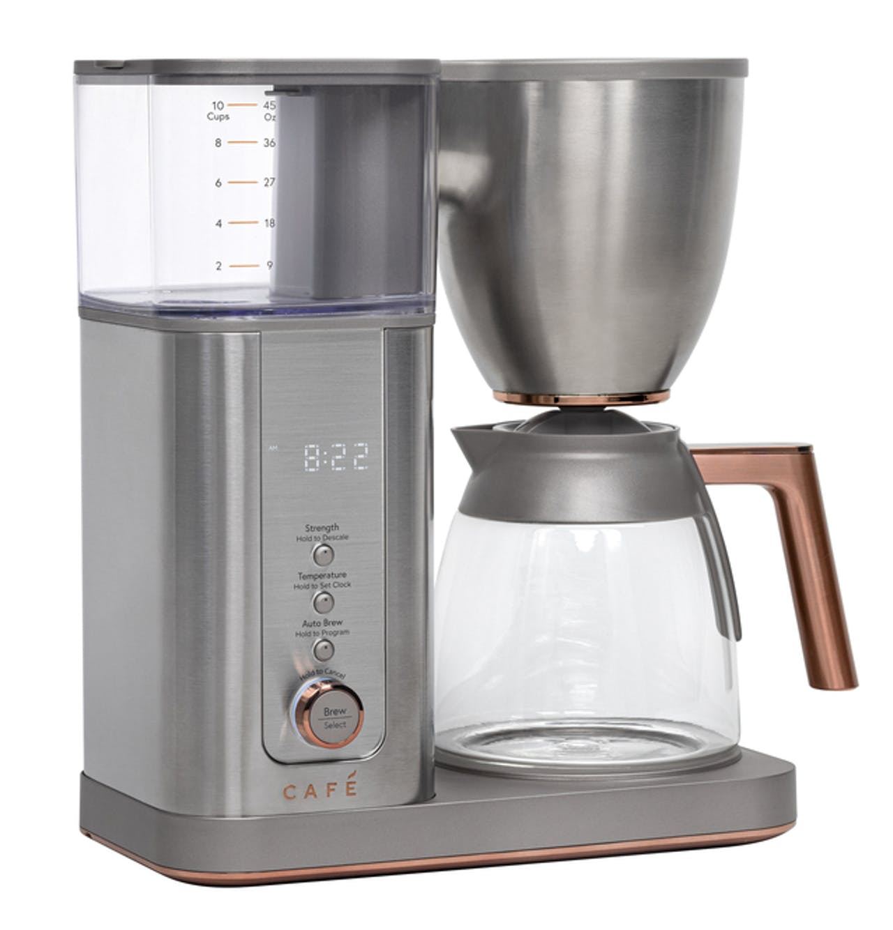 Café Specialty Drip Coffee Maker with Glass Carafe in Stainless Steel